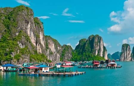 A floating village in Vietnam