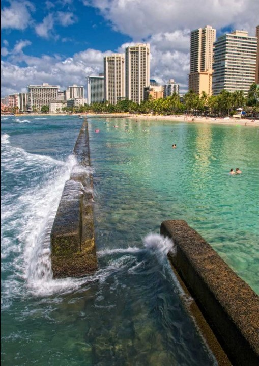 A sea wall outside of Waikiki, Hawaii